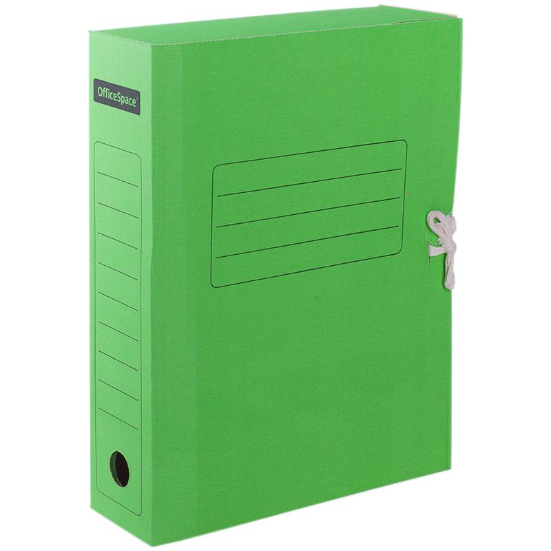 Анонс-изображение товара папка архивная из микрогофрокартона с завязками, ширина корешка 75 мм, зеленый, 225431