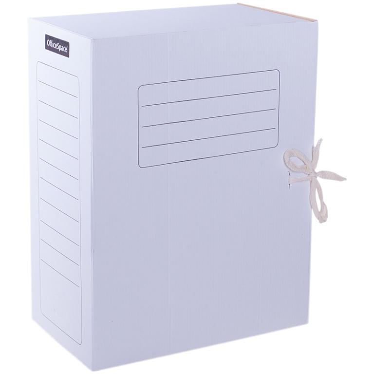 Анонс-изображение товара папка архивная из микрогофрокартона officespace с завязками, ширина корешка 150мм, белый, 225437